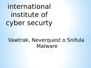 Vawtrak malware iicybersecurity .ppt