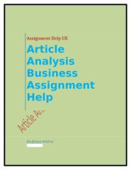 Article Analysis Business Assignment Help.docx