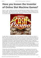Have you known the Inventor of Online Slot Machine Games.pdf